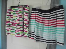 KAARI Set of 2 SKIRT 16 mini linen SKIRTS lined, colorful stripes & white