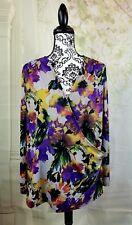 Igigi womens stretch knit floral print top faux wrap size 18/20 3/4 sleeves bb13