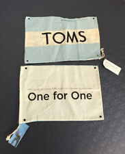 "2 TOMS Shoe Dust Bag Cloth Drawstring One for One Blue White 9.5"" X 14"" New NWT"
