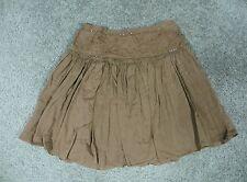 Passport Girl Light Brown Cotton Mini Skirt w/Beaded Accents, sz 10.5
