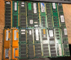 LOT OF 18 DESKTOP RAM PIECES 2GB 1GB 512MB 256MB 128MB SEE PICTURES FOR DETAIL