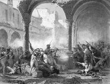 ESPAGNOLS contre l'armée de NAPOLÉON 1er à SARAGOSSE - Gravure datant du 19e s