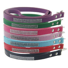 FM_ EE_ 45'' Long Puppy Pet Dog Leash Bling Decor Walking Lead Rope Faux Leather