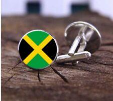Borsa regalo + Giamaicano Bandiera Gemelli D'Argento Tono Giamaica Gemelli Rotondi Bandiere