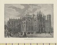 C1880 Viktorianisch Aufdruck ~ London Westminster Abbey