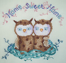 CL99 Home Sweet Home Owl Counted Cross Stitch Chart by Genny Haines