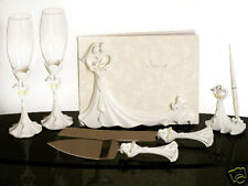 Bride & Groom Calla Lily Wedding Toasting Glass Guest Book Pen Cake Serving Set