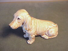 Vintage Porcelain Sitting Basset Hound Dog Figurine - Adorable Eyes!