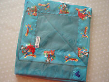 Baby bedding Handmade Mickey Mouse Satin Binding/Lovely Petrol Blue fleece.