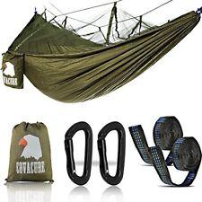 Camping Hamac Set avec Moustiquaire, 2 Sangles D'arbres Carabiners Cordes D ...
