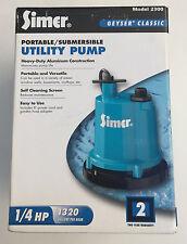 Pump Utility Sub 1/4hp Simer, No 2300,  Sta-Rite Industries new