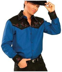 Cowboy Shirt Rodeo Western Blue Fancy Dress Halloween Adult Costume Accessory
