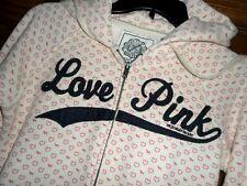 Victoria's Secret PINK Front Zip Hoodie w/ Mini Hearts & Dog Logos Size XS VGC