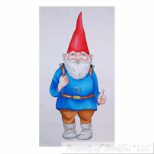 BonEful Fabric Cotton Quilt Pillow Panel White Blue Red Gnome Backpack US Travel