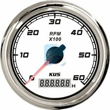 Tachometer 6000 RPM Digital Hour Meter ✱ White & Chrome ✱ Boat Marine 12v 24v