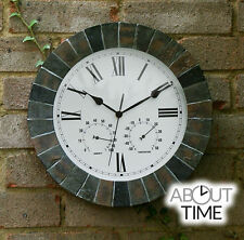 Slate Effect Garden Large Wall Station Clock & Thermometer Indoor Outdoor 59cm