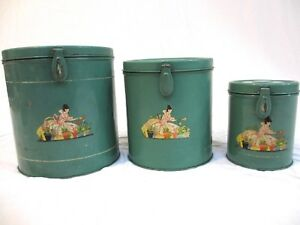 3 Antique Kitchen Nesting Tins Canisters with Disney-like Gardening Character