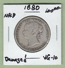 1880 Newfoundland 50 Cents Silver Coin - VG-10 (damaged)