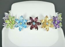 Rare King 18K White Gold Round Marquise Multi Color Stone Flower Tennis Bracelet