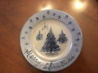 "Rowe Pottery Works Merry Christmas Salt Glazed Blue Stoneware Plate 8.75"" GIFT!"