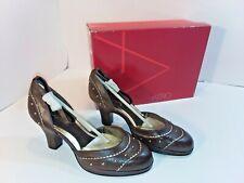"Women's Aerosoles Romeo Leather Ankle Strap Closed Toe 3"" Heels Size 6M Dk Brown"