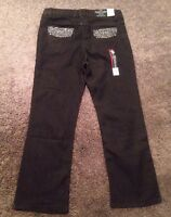 Girls Faded Glory Black Denim Jeans Design On Front And Back Pockets Size 12 1/2