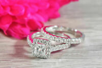 2 ct Princess Cut Diamond Halo Engagement Bridal Ring Set In 14k White Gold Over