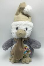 Penguin Gray White in Hat Plush Stuffed Animal Toy New 14 Inch