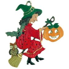 Kuhn Hand Painted Pewter From Germany.Witch With Pumpkin/Bat/Owl 623C