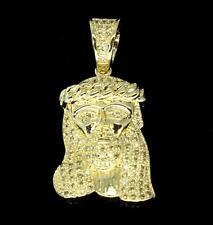 "1"" Mini Jesus Piece Charm Micro Pave CZ Pendant 14k Gold Plated w/ 4mm Bail"