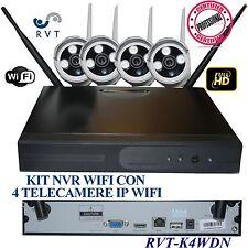 KIT VIDEOSORVEGLIANZA WIRELESS  DVR NVR  4 CANALI 4 TELECAMERA WIFI IP