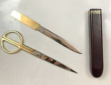 Vintage Mid Century Modern Scully Amp Scully Scissor Set Circular Office Leather