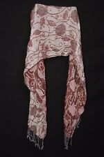 Maroon Beige Grey & Pink Floral Print Tasselled Crinkled Woman's Scarf (S201)