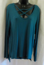 Pink Rose Sweet Tea's Size XL NWT Teal String Cross Neck Rayon Blend Long Sleeve