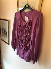 New Darling Tabitha Purple Ruffle Vintage Look Cardigan,Medium