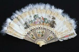 """ANTIQUE FRENCH EARLY 20TH C HAND PAINTED FAN WITH CARVED ARMS 20 X 13"""""""