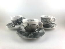 THREE Illy Collection Darryl Pottorf 1999 Espresso Cups and Saucers Set of 3