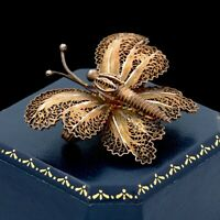 Antique Vintage Deco 925 Sterling Silver Gold Filigree Butterfly Pin Brooch 6.5g