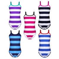 Girls Kids Tankini Striped Swimsuit Swimwear Bathing Swimming Costume Age 2-14