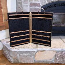 Vintage Oak Wood Velvet Lined Jewelry Travel Display Case 22 Folding Table Box