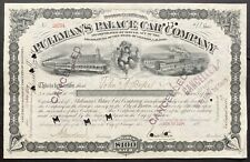 PULLMAN PALACE CAR COMPANY Stock 1894. Chicago. General Horace Porter SIG.  VIGS