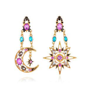 New Moon & Star Crystal Stone Stud Earrings Womens Girls Wedding Jewellery Gift