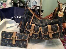 Dooney Bourke Leather Blue Denim DB Signature Logo Hobo Saddle Bag & Lg Wallet