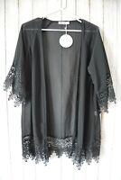Miracle Jacket Size 8 Small Black Broderie Anglaise Kimono