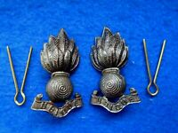 ORIGINAL PAIR ROYAL ENGINEERS OFFICERS SERVICE DRESS BRONZE COLLAR BADGES + PINS