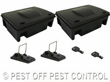 2 X RAT MICE MOUSE RODENT PROTECTOR BAIT BOX and SNAP TRAP NO POISON SOLUTION