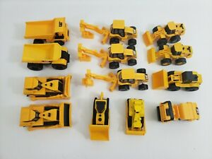 CAT - Lot of 13 - Mini Plastic Yellow Vehicles Bulldozer, Dump, Excavator
