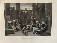 1855 Job and his Friends Biblical Antique Engraving Print by P.F. Poole