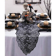 Halloween Party Dinner Tablecloth Table Cover Black Web Fireplace Mantle Deco OZ