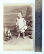 Large 1800s Victorian Cabinet Card Photograph by Stodart of Margate